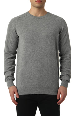 MERINO CREW NECK SWEATER IN GREY MELANGE