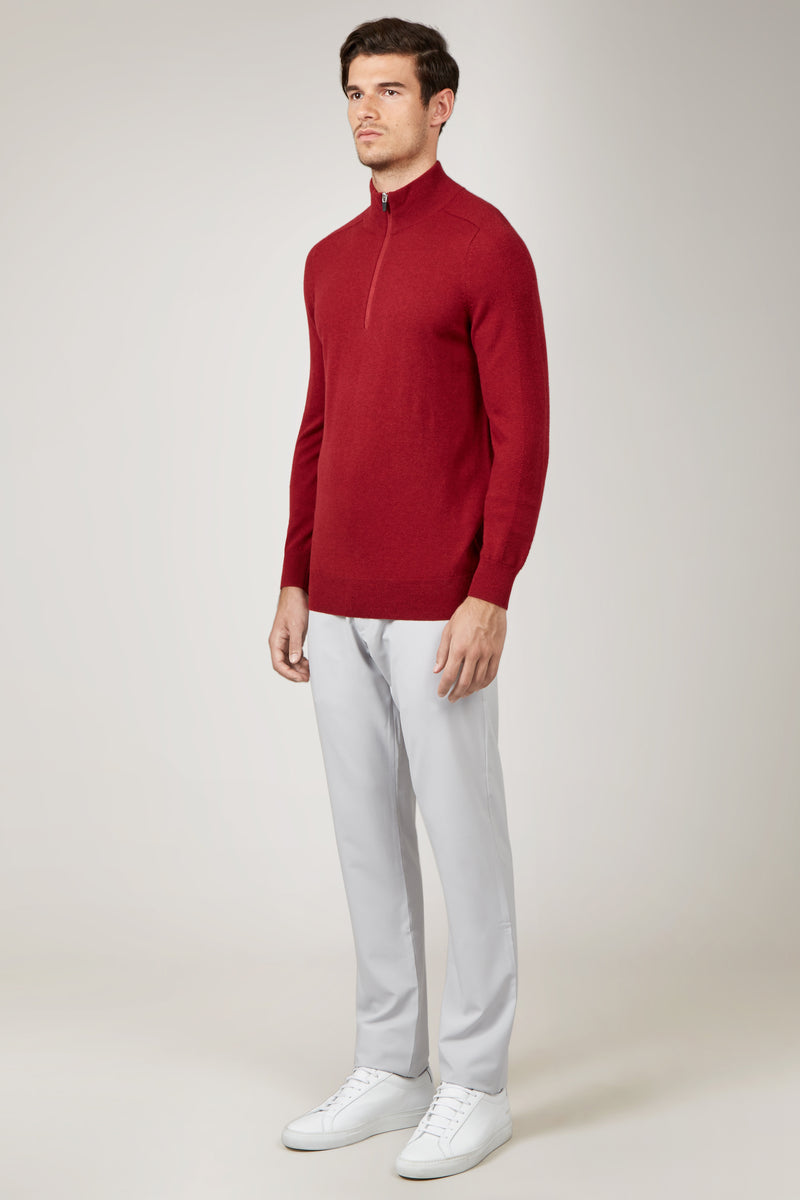 Crimson Merino 1/4 Zip Sweater