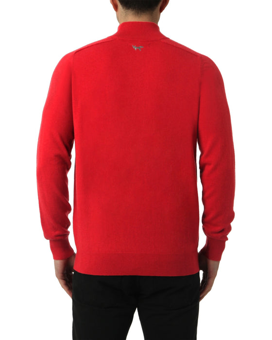 MERINO 1/4 ZIP SWEATER IN BLAZE