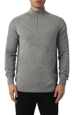 MERINO 1/4 ZIP SWEATER IN GREY MELANGE