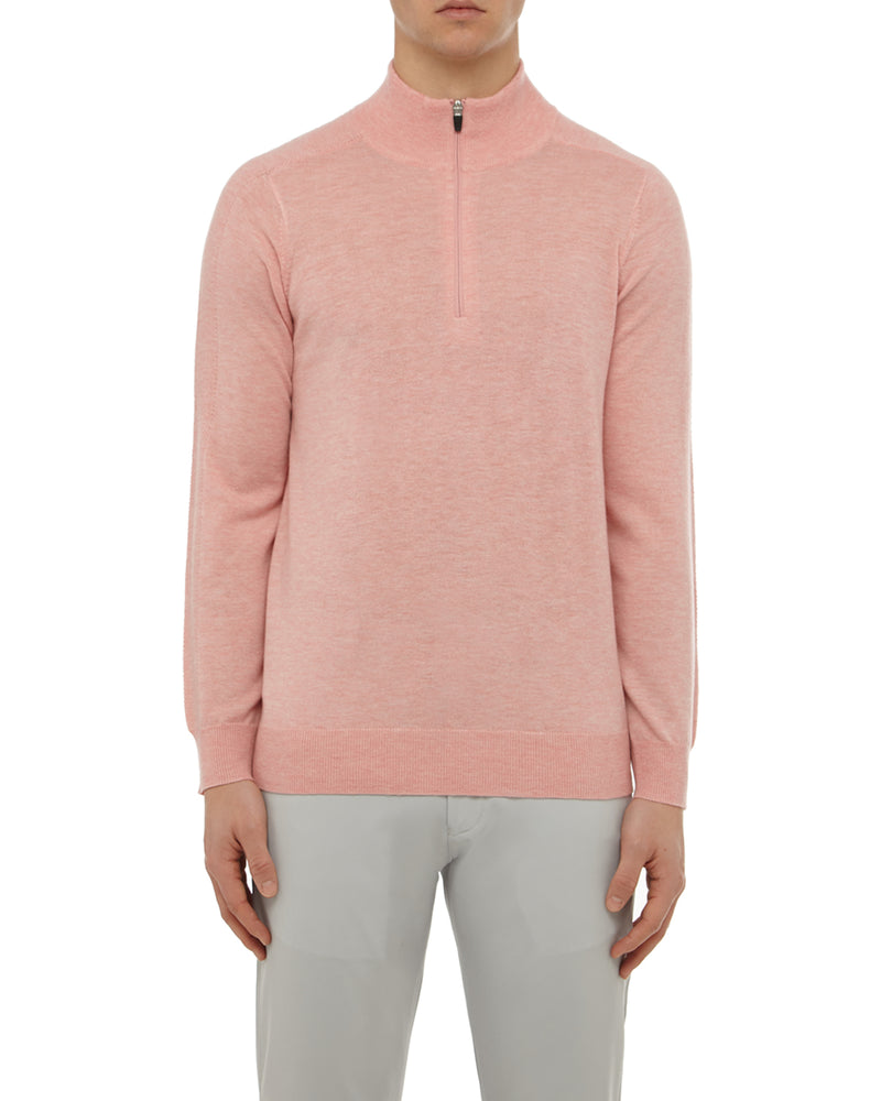 Pink Merino 1/4 Zip Sweater