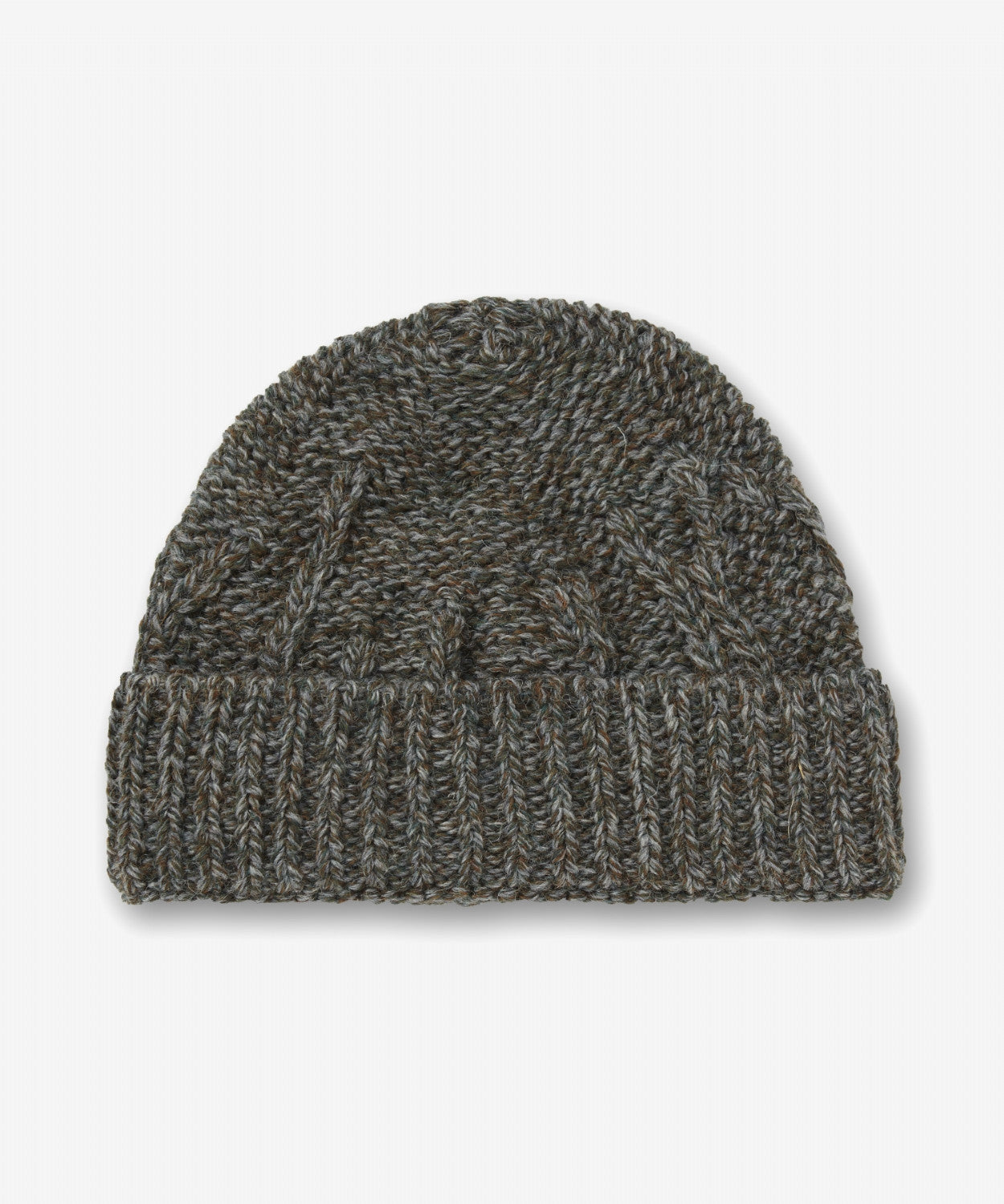 DK OLIVE TEXTURED KNIT BEANIE HAT [MADE IN UK]