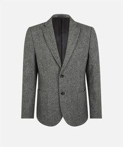 CHARCOAL LIGHT WEIGHT HERRINGBONE TWO BUTTON BLAZER