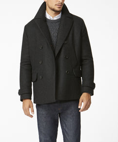 CHARCOAL GREY PEACOAT [MADE IN UK]