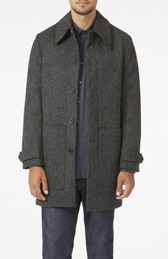 CHARCOAL GREY HERRINGBONE WOOL OVERCOAT [MADE IN UK]