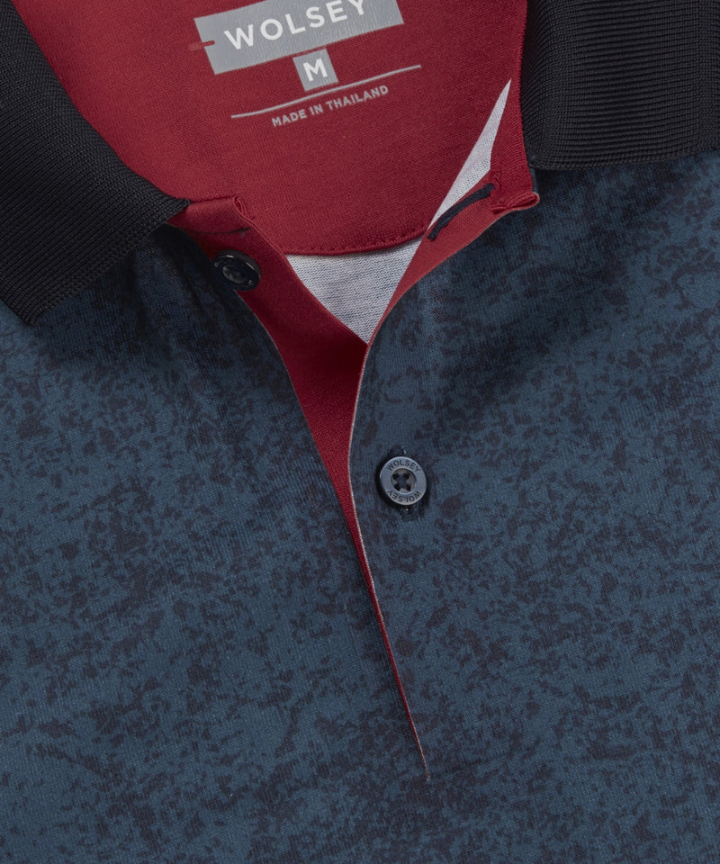TOTAL ECLIPSE PRINTED POLO WITH CONTRAST FOX LOGO EMBROIDERY