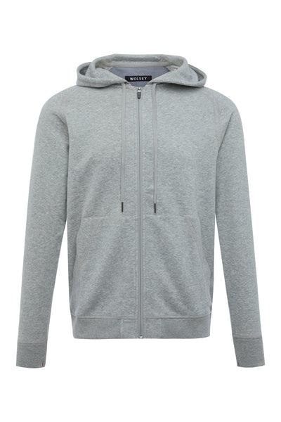 Grey Marl Brushed Full Zip Hoodie