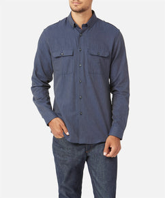 DARK DENIM FLANNEL MILITARY SHIRT [EXCLUSIVE]