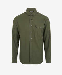 LIGHT OLIVE BRUSHED HERRINGBONE SHIRT [EXCLUSIVE]