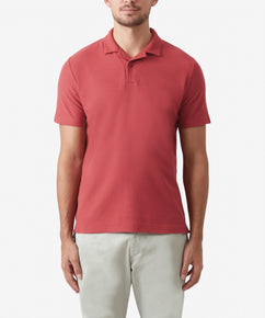 CORAL JOHNNY COLLAR TEXTURED POLO SHIRT