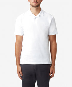 WHITE JOHNNY COLLAR TEXTURED POLO SHIRT