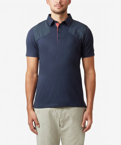 TOTAL ECLIPSE JERSEY POLO WITH WOVEN SHOULDER PANELS