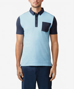 SKY FABRIC BLOCK JACQUARD POLO