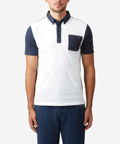 WHITE FABRIC BLOCK JACQUARD POLO