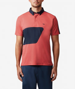 CORAL COLOUR BLOCK POLO WITH BONDED SEAMS