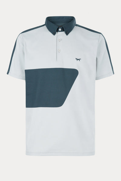 LT GREY COLOUR BLOCK POLO WITH BONDED SEAMS