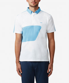 WHITE COLOUR BLOCK POLO WITH BONDED SEAMS