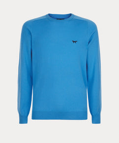 AZURE MERINO CREW NECK SWEATER