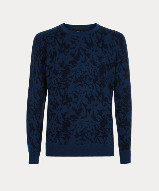 OCEAN SHADOW PRINT CREW NECK SWEATER