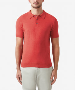 CORAL SHORT SLEEVE KNITTED POLO SHIRT