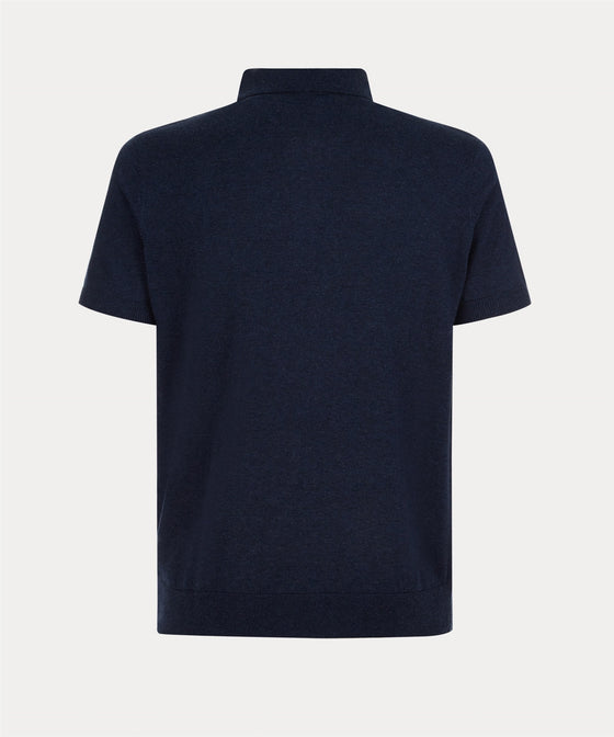 NAVY SHORT SLEEVE KNITTED POLO SHIRT