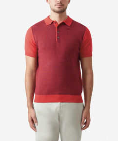 CORAL MICRO JACQUARD SHORT SLEEVE POLO SHIRT