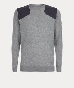 GREY MARL SHELL PANEL CREW NECK SWEATER