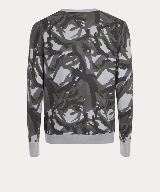 LT GREY CAMOUFLAGE CREW NECK SWEATER