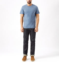 CHALK BLUE CREW NECK T-SHIRT WITH POCKET