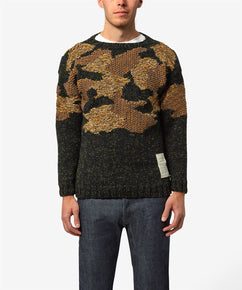 BLACK CAMO CONTRAST TEXTURED CAMOUFLAGE JUMPER