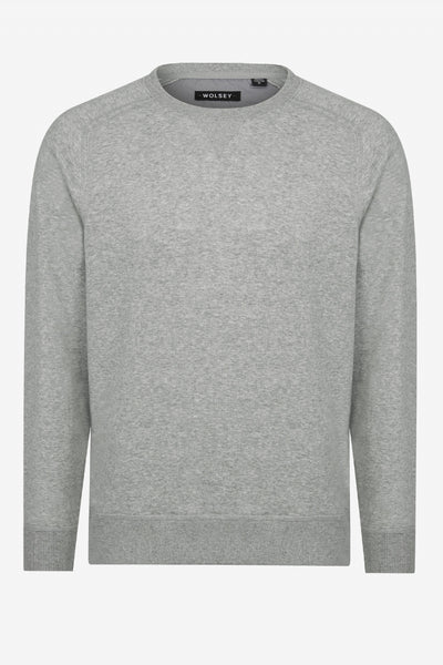 GREY MARL BRUSHED COVER STITCH CREW NECK