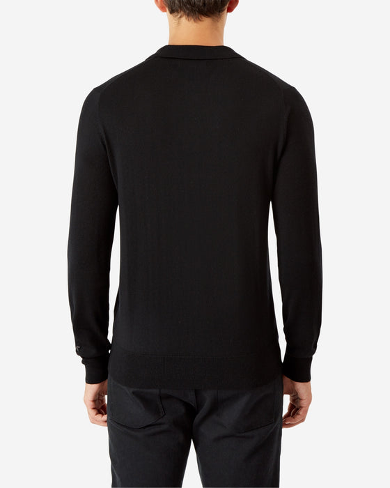 BLACK LONG SLEEVE POLO SHIRT PULLOVER