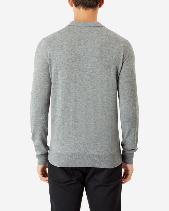 GREY MELANGE LONG SLEEVE POLO SHIRT PULLOVER