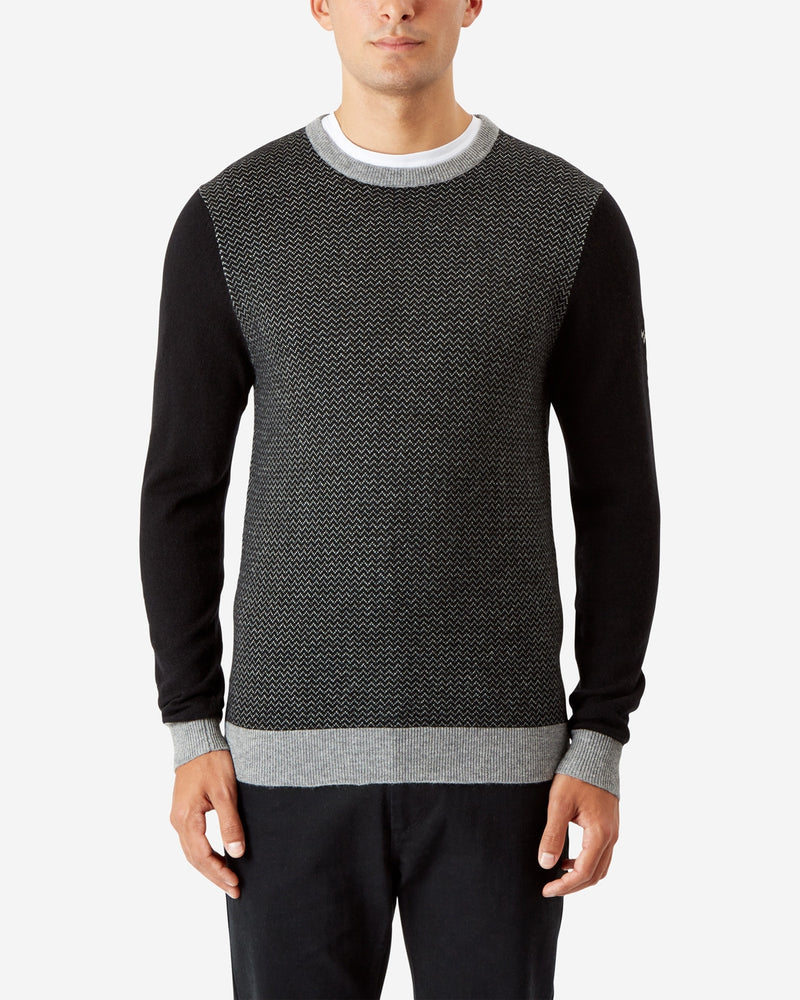 BLACK HERRINGBONE CREW NECK PULLOVER