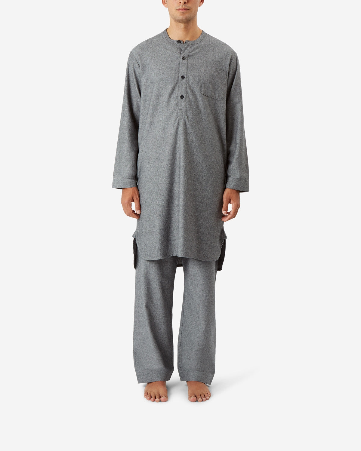 GREY FINE HERRINGBONE COTTON NIGHTSHIRT