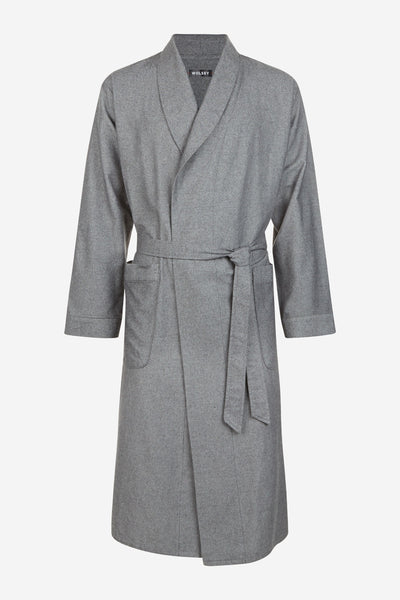 GREY FINE HERRINGBONE COTTON ROBE