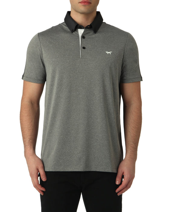 COLOUR SPLIT POLO IN GREY MELANGE