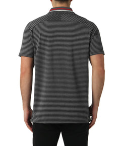 GREY MELANGE STRIPE SPLIT POLO