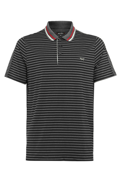 STRIPE SPLIT POLO IN GREY MELANGE