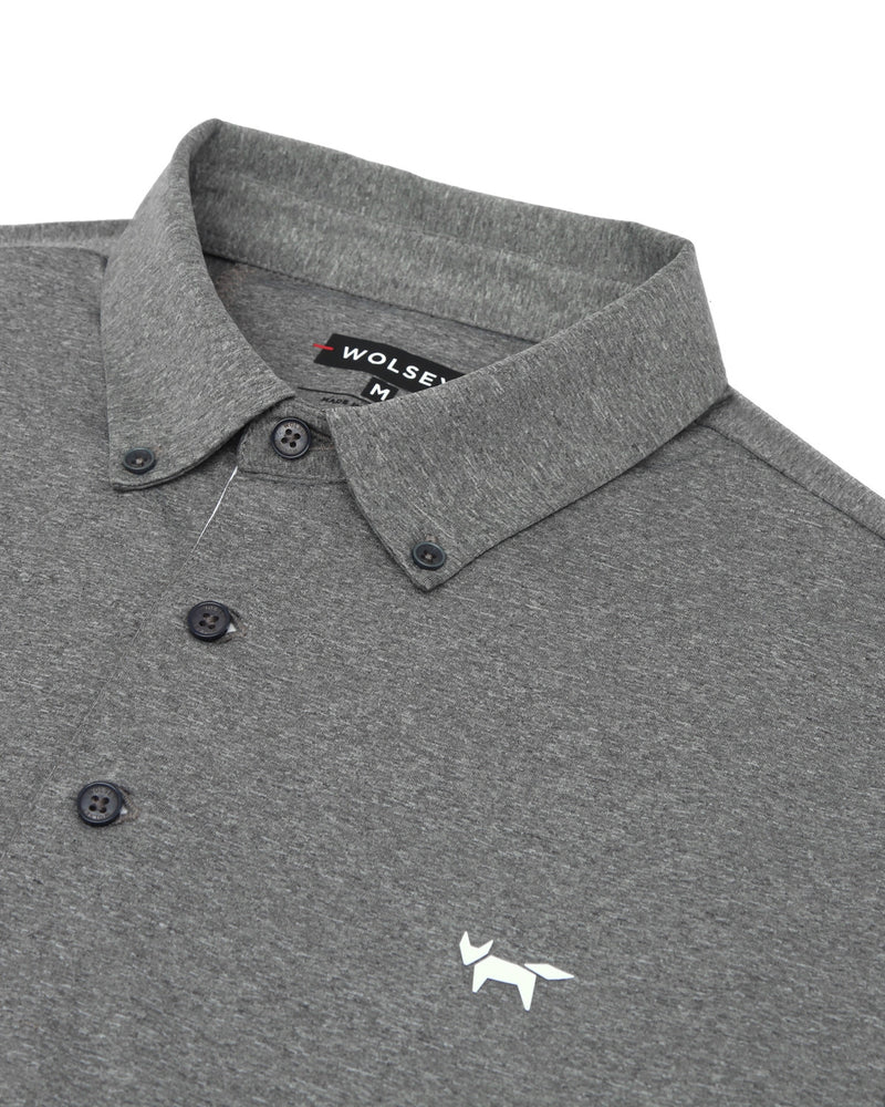 TIPPING SLEEVE POLO IN GREY MELANGE