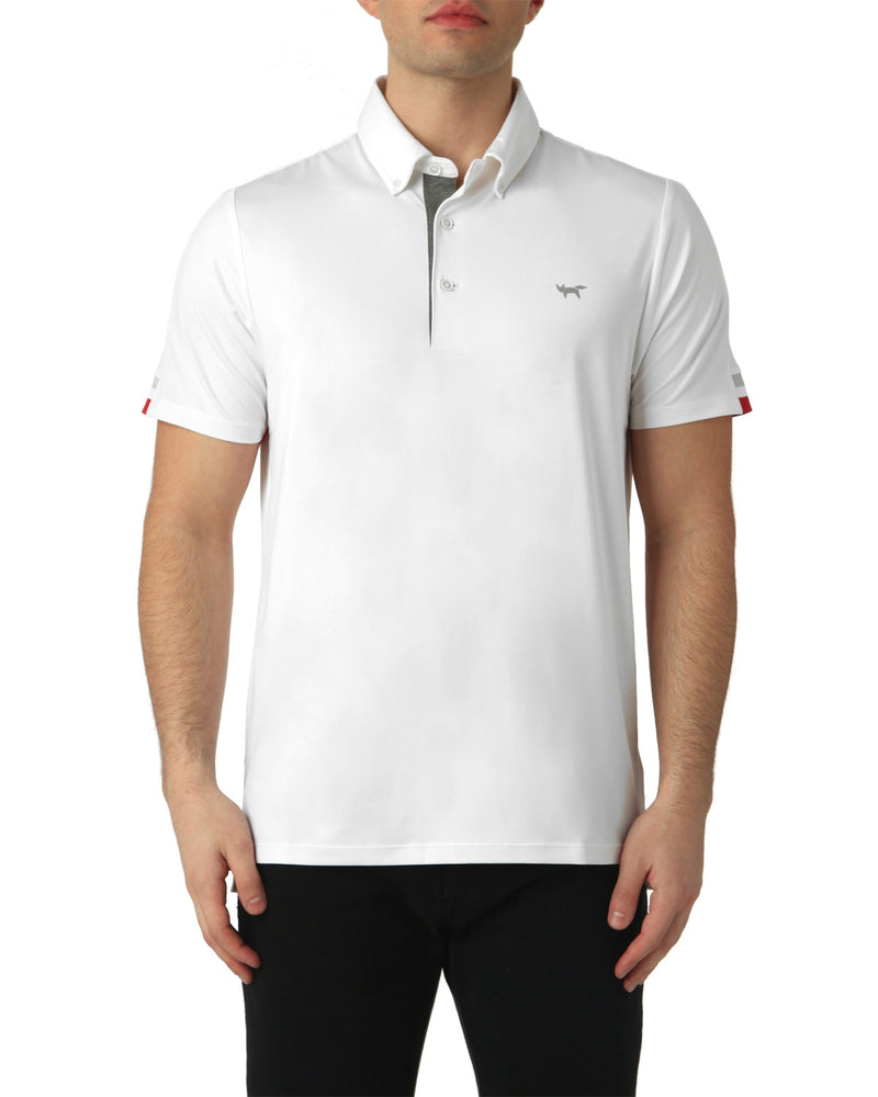 TIPPING SLEEVE POLO IN WHITE