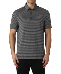 GREY MELANGE SLIM STRIPE POLO