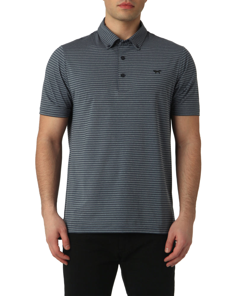 SLIM STRIPE POLO IN TOTAL ECLIPSE MELANGE