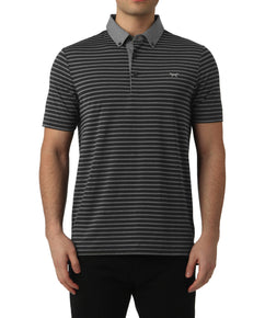 GREY MELANGE STRIPE POLO