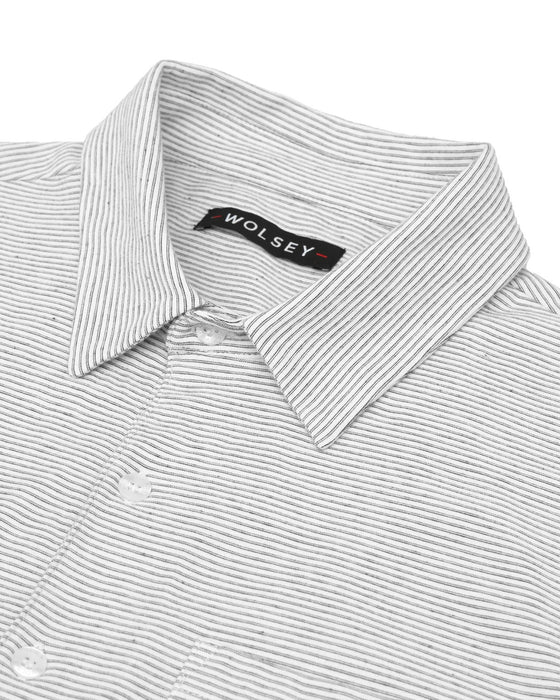 FINE STRIPE POLO IN WHITE
