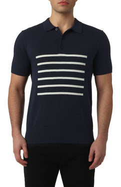 BRETON KNITTED POLO IN TOTAL ECLIPSE