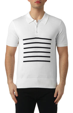 BRETON KNITTED POLO IN WHITE