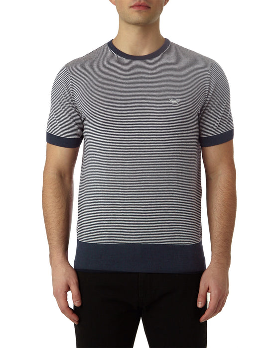 MICRO STRIPE KNITTED T-SHIRT IN TOTAL ECLIPSE