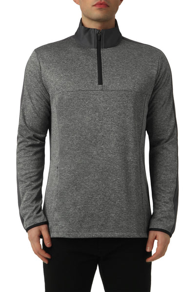 COLOUR SPLIT QUARTER ZIP IN GREY MELANGE
