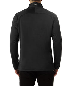 COLOUR SPLIT QUARTER ZIP IN TOTAL ECLIPSE MELANGE